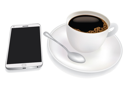 Cup of coffee and mobile phone Ilustracja
