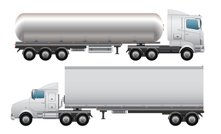 car side view: Cargo and tanker truck