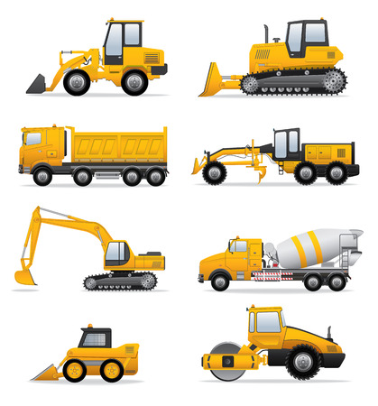 quarry: Building machines set Illustration
