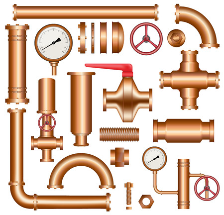 Copper pipeline elements Vector