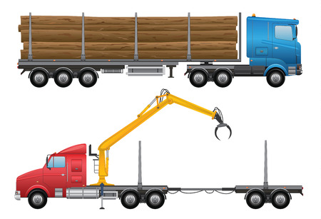 lift trucks: Logging Truck Illustration