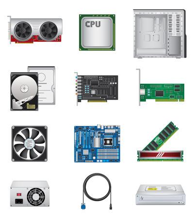 Computer parts icon set 向量圖像