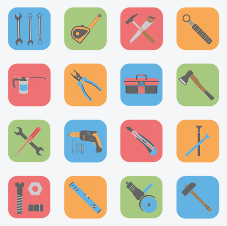 Tools Icons Set - Flat Vector