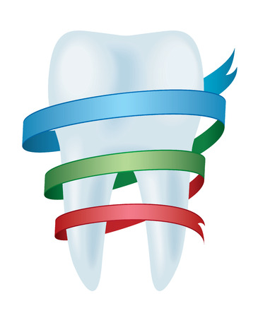 stomatology icon: Tooth with ribbon