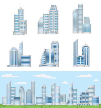 tall buildings: Vector Buildings Illustration