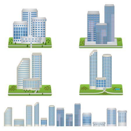 Edificios del vector fijaron