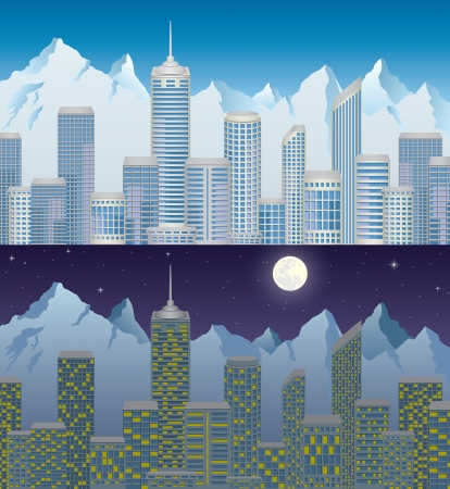 City in mountain at day and night Ilustracja