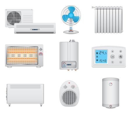 Calefacción y aire acondicionado iconos