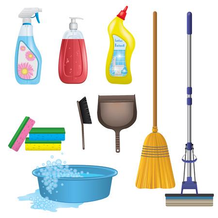 escoba: Limpieza Icons Set Vectores