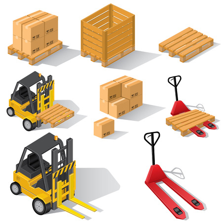 Forklifts with pallets and boxes Ilustracja