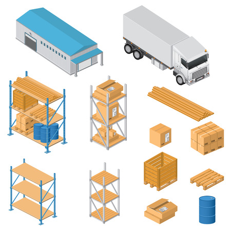 Warehouse equipment icons Vector