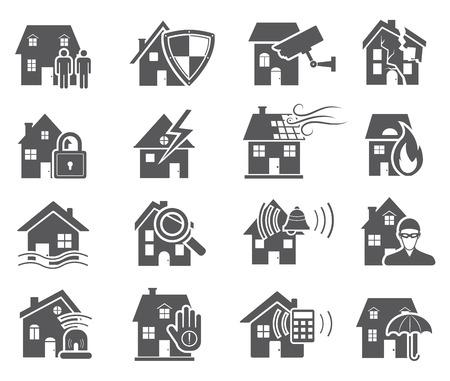 incendio casa: Casa de seguridad Iconos