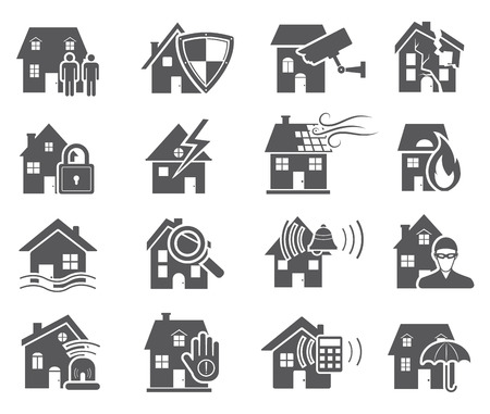building fire: House Security Icons Illustration
