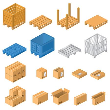 pallet: Pallets y cajas Vectores