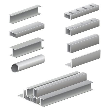 objetos cuadrados: Perfil y tubos de metal Vectores