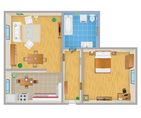 wood floor: Apartment Plan