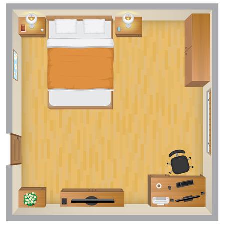 Bedroom Interior 向量圖像
