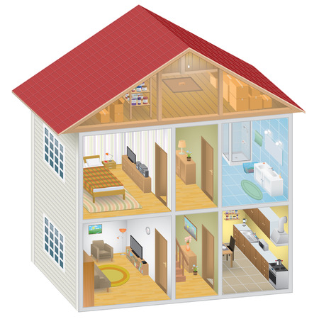 interior wallpaper: Isometric House Interior