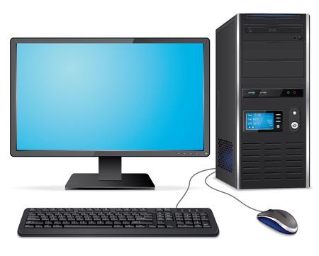 Caso de computador realista com monitor, teclado e mouse
