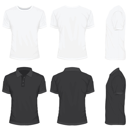 T-Shirt in White and Black Color Vettoriali