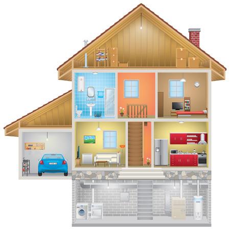 House Interior on White Background