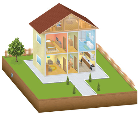 modern house: Isometric house interior with yard