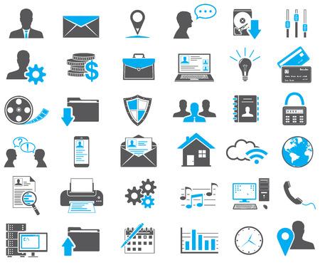 negócio: Ícones do Web ajustados Ilustração