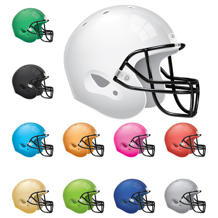 blue helmet: American Football Helmet Set Illustration