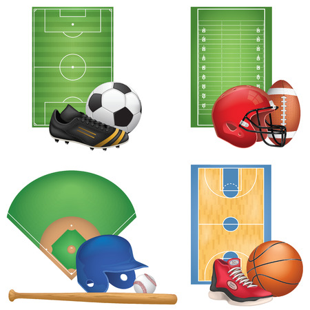 soccer field: Sport Icons Set Illustration