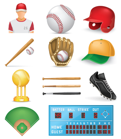 Baseball Icon Set Illustration