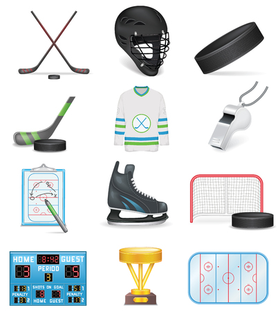 Hockey Icons Set Illustration