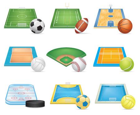 terrain de foot: Sport Les champs Icons Set Illustration