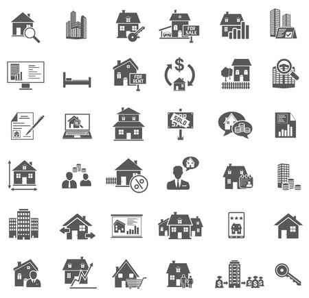 Ikony Nieruchomości Ilustracje wektorowe