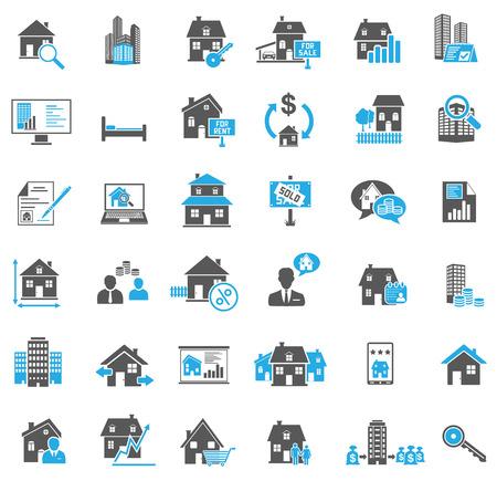 bienes raices: Inmobiliaria set de iconos Vectores
