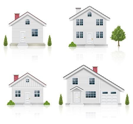 case moderne: Casa Bianca Icons Set Vettoriali