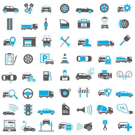 Auto Iconen in Blauw en Zwart
