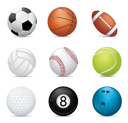 Sport balls on white background Illustration