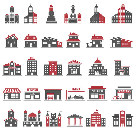 Building Icons Set in Red and Black Color