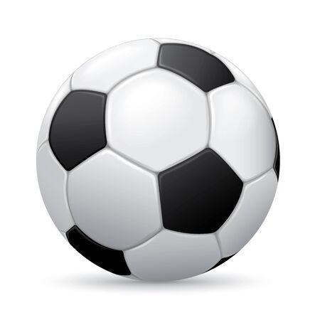 Voetbal bal op een witte achtergrond met schaduw Stock Illustratie