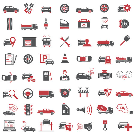 Auto Icons in Red and Black Color