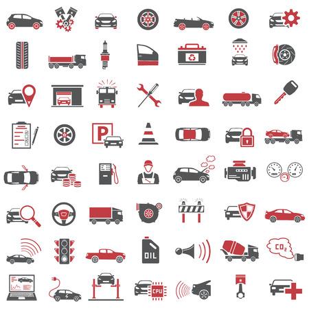 Los iconos de automóviles en Rojo y Negro color