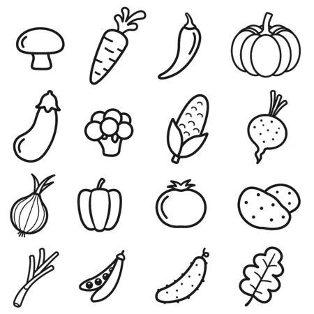Vegetable Icons Set on White Background