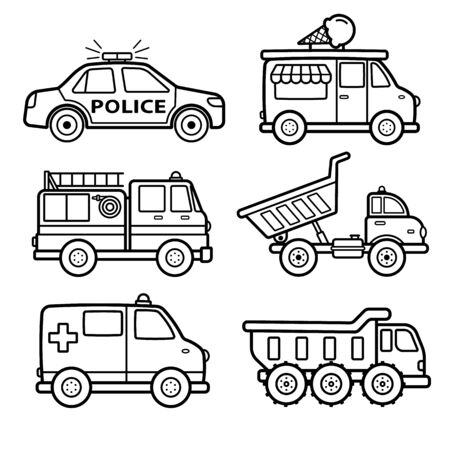 Outline Vehicles Vector Icon Set on White Background Standard-Bild - 138647886