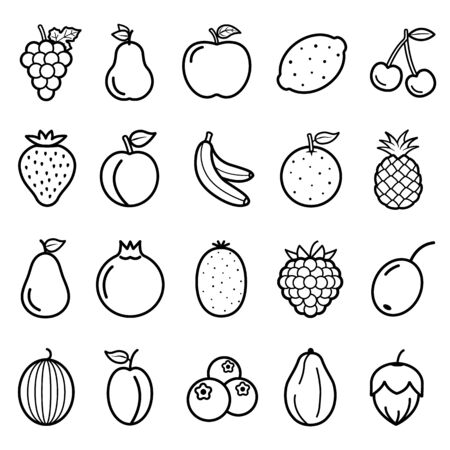 Fruits Vector Line Icons Set. Contains Icons as Strawberry, Orange, Watermelon, Apple, Strawberry and more.