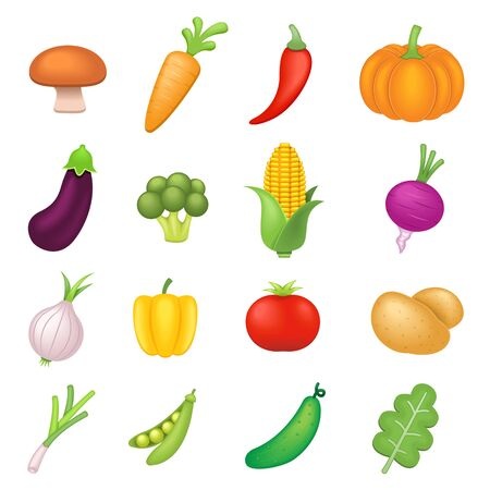 Vegetables Vector Icons Set on White Background