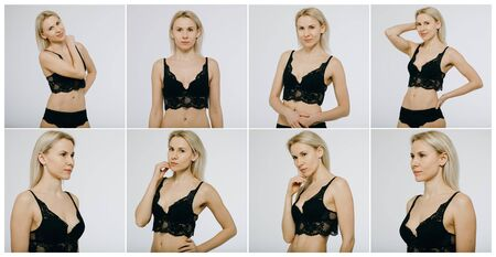 Snaps Models. Young models for modeling agency on a white background. Portrait of a beautiful blonde women in black bikini isolated on white background.