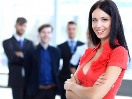 사업 사람들과 아름다운 여성의 얼굴
