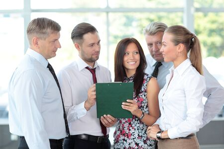 everyday people: Business people discussing. Everyday setting