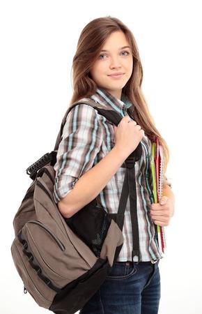 alumnos estudiando: Femenino de los estudios de Niza sonriente y mirando a la c�mara