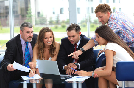 informal clothing: business team in business meeting